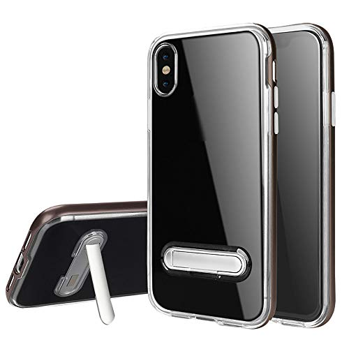 samLIKE Handyhülle für iPhone XS Max Transparent Silikon mit Magnetisch Halterung 6.5 Zoll Stoßfest Schutzhülle Rückschale [Anti-Scratch] [Kratzfeste] (Grau) - Magnetisches Iphone-halterung