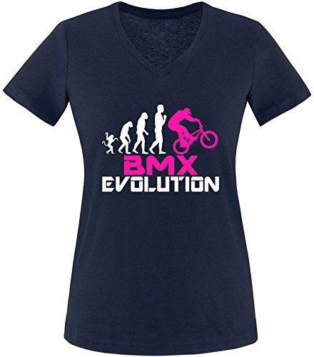 EZYshirt® BMX Evolution Damen V-Neck T-Shirt Navy/Weiss/Pink