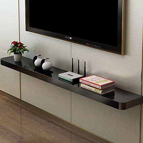 Regal Schwimmend Wand Bücherregal Hölzern TV-Kabinett Wand-Hintergrund Trennwand Set-Top-Box Regal mit Klavierlack-Finish (Farbe : SCHWARZ, größe : 60cm) (Schwarzes Finish Bücherregal)