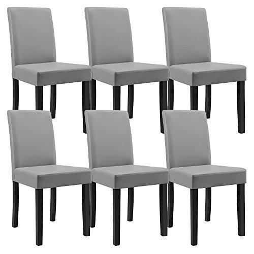 en.casa 6 sedie imbottite (grigio chiaro) (Ottima ...
