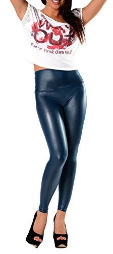 Sexy Faux PU Leder Look Optik Leggings Hohe Taille Hüfthoch Strumpfhose Damen Leggins Hose Seeblau S M L XL XXL 3XL 36 38 40 42 44 46...
