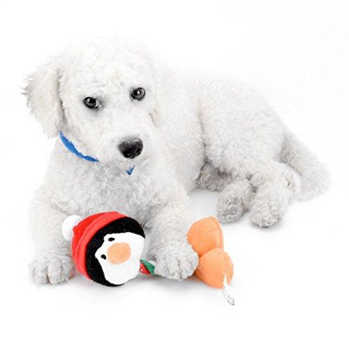 selmai Hundespielzeug für Weihnachten Xmas Puppy Quietschen Spielzeug für Langeweile Indoor Outdoor Spielen gefüllt Spielzeug für Hund Halloween Urlaub Santa Claus Schneemann Pinguin Rentier (Behandeln Leinwand)