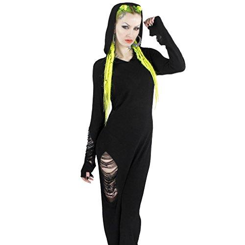 Killstar Damen Gothic Maxi Kleid - Nu-War Hoodie Strickkleid mit Kapuze (M)