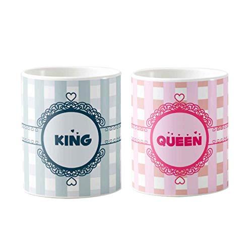 Designer panda, King Queen Printed Coffee Couple Mugs Set of Two