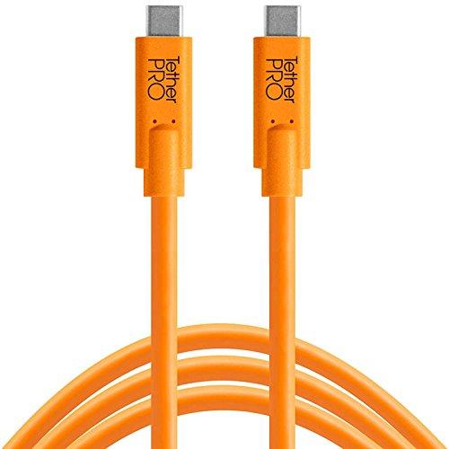 Tether Tools TetherPro 4,6 Meter USB-Datenkabel für USB-C an USB-C (gerader Stecker/orange) - z.B. zum Anschließen einer Kamera an ein Notebook (Elektronik-tether)