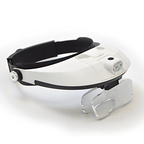 Profi Kopflupe Rom, Farbe: Schwarz/Weiß inkl. Vergrößerungslinsen in verschiedenen Stärken