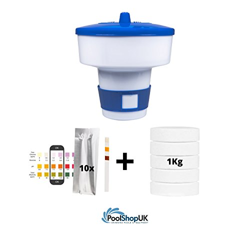 Swimming Pool & Spa Bluewater 200G Multifunctional Tablets 1Kg + Large Dispenser + 10x Test Strips