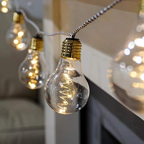 batteriebetriebene Party-Lichterkette - 10 bruchsichere Retro-Design-Glühbirnen mit 30 Mikro-LEDs in warmweiß - 2,50m Beleuchtungslänge - Retro-Look Stoffverkabelung (Stoffkabel Weiß/Schwarz)