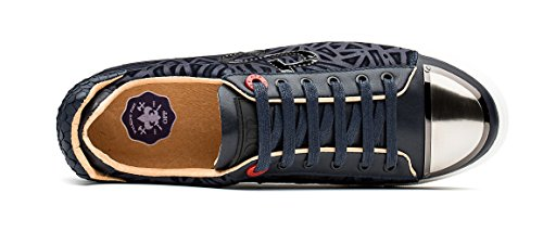 OPP Classic Scarpe da Uomo Lacci Vera Pelle Scarpe Sneaker Blu