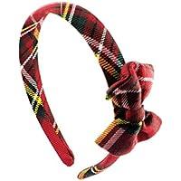 Diadema-Banda de pelo hecha a mano con tela de tartàn y un delicioso arco lateral