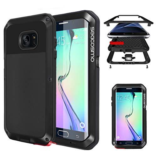 seacosmo Galaxy S6 Edge Hülle, [Tough Armor] Aluminium Doppelte Schutz Stoßfest Schutzhülle für Samsung Galaxy S6 Edge, Schwarz