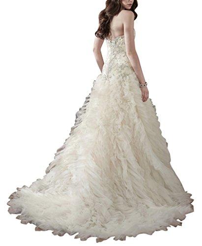 GEORGE BRIDE Herrliche Schatz Ausschnitt Level Luxus schlepp Tull Brautkleid Elfenbein
