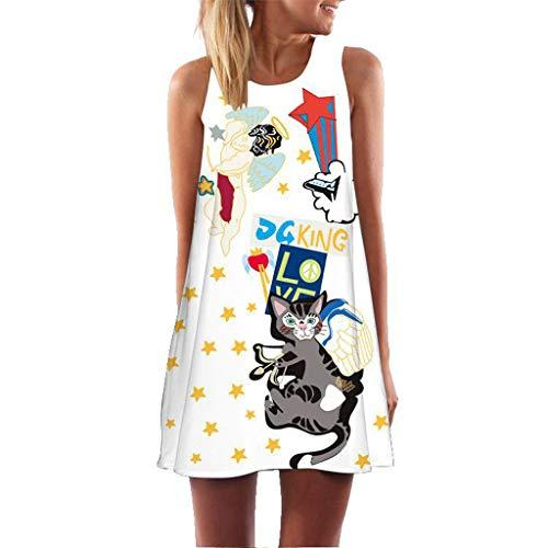 Feytuo Damen Sommerkleider Festlich Günstige Schön Kleid ärmelloses Vintage Große Größen T-Shirt 2019 Neu Spitze Neckholder Rock