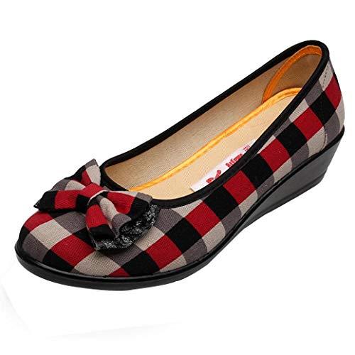 Scarpe moda da donna, sonnena scarpe da donna con fiocco a zeppa casual stile classico nazionale da donna scarpe semplici a fiocco scozzese scarpe da lavoro elegent