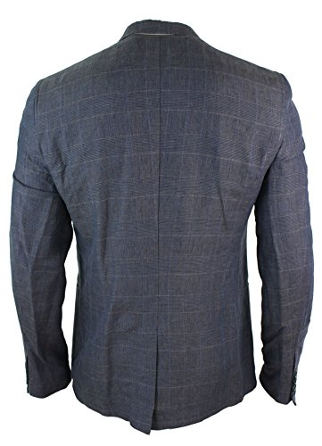 Giacca Casual da Uomo Blazer Vintage Motivo a Scacchi Grigio e Blu Blu