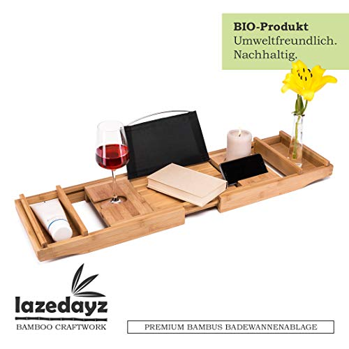 Lazedayz Badewannenbrett aus Bambus, Badewannenablage, Badewannenauflage mit Buchstütze, Badewannentablett mit Glashalter -