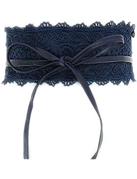Gran tendencia cinturón para anudar con encaje y piel sintética. Talla única