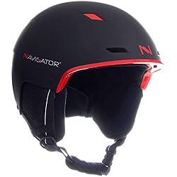 NAVIGATOR TUKAN - Casco de esquí y snowboard - Ajustable - Varios colores- XS-XL (negro/rojo, M-XL (58-62 cm))