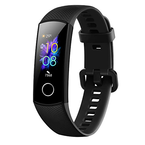 Honor Band 5 wasserdichter Bluetooth Fitness-/Aktivity-Tracker mit Herzfrequenzmesser, AMOLED-Farbdisplay, Touchscreen, Meteorite Black