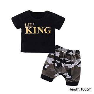 AIMADO Baby Kleidung, Kleinkind t-Shirt Top + Hose Outfits Set mit King Print Cool Sommer Junge,0-4 Jahren