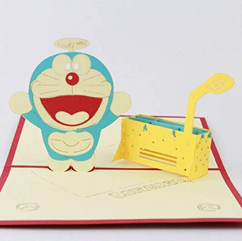 BC Worldwide Ltd Handgemachte 3D Pop Up Geburtstagskarte Japanische Manga Doraemon Roboter Katze Hochzeitstag Karte, Valentines Karte, Vatertagskarte, Muttertagskarte -