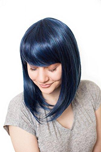 Prettyland Blau Schwarz Strähnen Mittellange Glatte Natürlich Matte wie Echthaar hitzefeste Perücke Wig C180 (Dunkelblaue Kostüm Perücke)