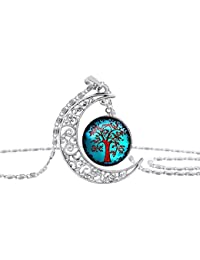 Yellow Chimes Crescent Moon Life Tree Glass Cabochon Pendant With Chain Necklace For Women And Girls