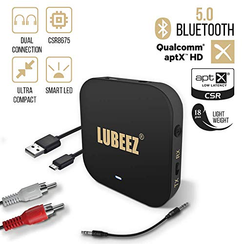 [Bluetooth Transmitter TV APTX HD]/ Bluetooth Sender Empfänger 2 in 1-5.0 Bluetooth Adapter aptX Low Latency - 3,5mm Audio HD Receiver Transmitter für TV, Stereoanlage, Lautsprecher und Kopfhörer