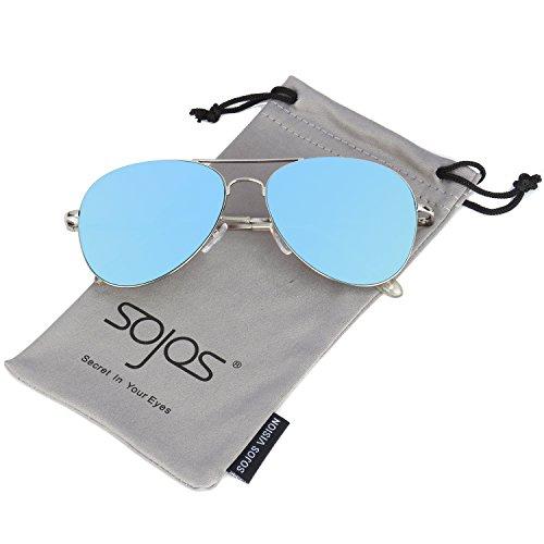 SOJOS Mode Metallrahmen Verspiegelt Linse Herren Damen Sonnenbrille mit Frühlings Scharnieren SJ1030 mit Silber Rahmen/Blau Linse