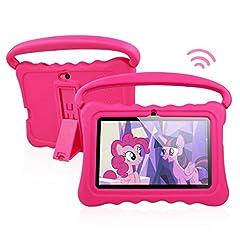 Idea Regalo - Tablet per Bambini Android 8.1 OS 7 Pollici Tablet con Display FHD per Bambini 1 GB di RAM 16 GB di Storage Quad-Core 1.3Hz Tablet WiFi Custodia Morbida Antiurto e a Prova di Bambino (rosa)