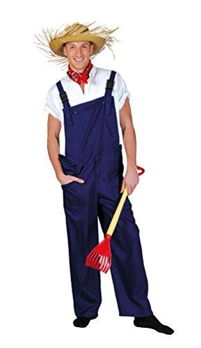 Karneval-Klamotten Kostüm Latzhose blau Gärtnerhose Blaue Arbeitshose blau Blaumann Herren-Kostüm Damen-Kostüm Fasching Karneval Größe 44/46 (Gärtner Kostüm Männer)