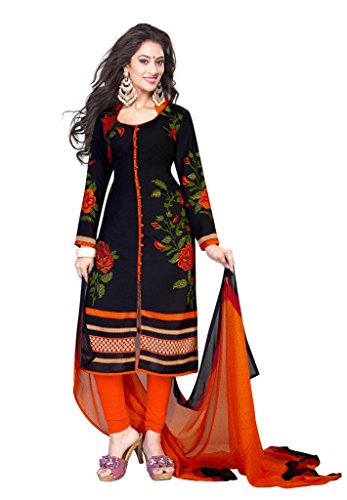 alwar House Women's Synthetic Dress Material (CG-0000671_Free Size_Black & Orange)