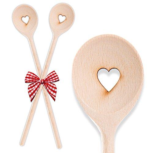 2 süße Kochlöffel aus Holz HERZ 30 cm Geschenk Hobby-Köche oder zur Hochzeit, Geburtstag mit Schleife Gastgeschenk Deko give-away Mitgebsel Liebe Symbol Kunden-Geschenk Präsent