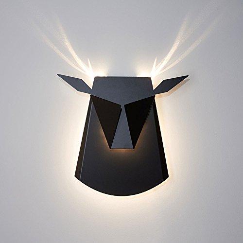 Nordische Postmoderne Art-Wandlampe, Kreatives Modernes Rind-Kopf-Rotwild-Ecken-LED Wand-Licht, Hintergrund-Wand-Restaurant-Café-Schlafzimmer-Halle Schmiedeeisen-Wand-Leuchter (Farbe : Schwarz) -