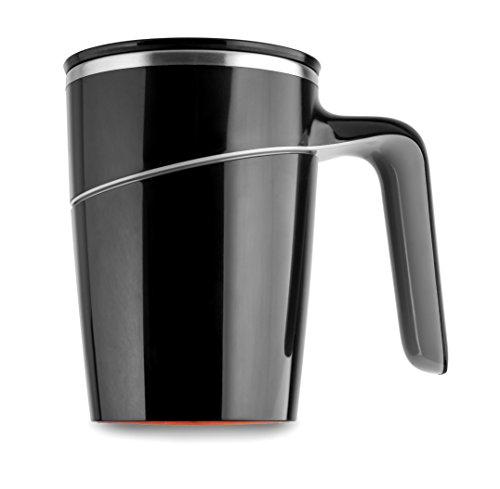 t Deckel 470 ml Becher doppelwandig Thermobecher Edelstahl / Kunststoff Kaffeebecher Saugnapf Trinkbecher Mighty Mug Tasse mit Henkel - Schwarz (Kunststoff-becher Mit Henkel)