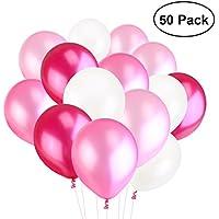 TOYMYTOY Perle Latex Luftballons für Party Luftballons Spielzeug für Kinder 50 Stück (weiß-rosa Licht Rosa Pflaume)