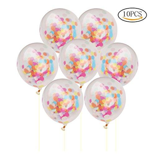ofoen Konfetti Luftballons, 10Stück 30,5cm transparent Geburtstag Hochzeit Party Dekoration Luftballons multi