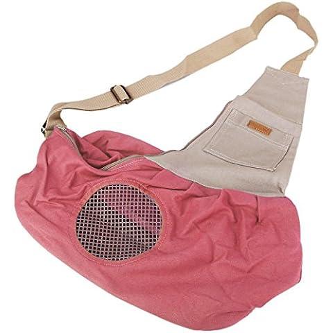PIXNOR Lona pequeña mascota perro gato portador Honda bandolera bolsa (rosa)
