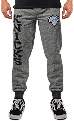 NBA Herren Jogger Hose Varsity Stripe Rib Marl Fleece Sweatpants, Team Logo Grau, Herren, VFM3377F, Black Marled, Large - Los Angeles Lakers Team Fleece