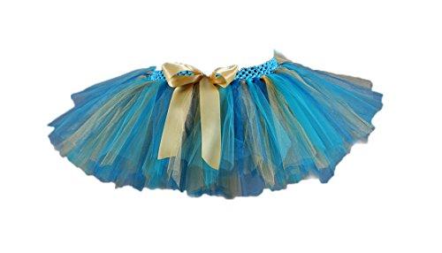 Honeystore Damen's Kurz Retro Petticoat Rock Ballett Blase 50er Tutu Unterrock Tütü Abschlussball Tanzkleid Party Minirock Tüllrock One Size Pfau (Ballerina Kostüm Halloween Tote)
