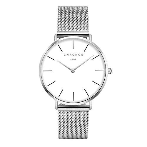 Orologi unisex classico grande orologio polso donna uomo pelle acciaio moda bianco, argento