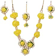 Geetanjali Handmade Artificial Floral Necklace Set with Maangtika and A Pair of Beautiful Earrings for Girls &