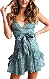 Angashion Damen Sommerkleid Blumen V-Ausschnitt Minikleid Spaghettiträger Mode Strandkleider Mit Gürtel 260Grün S