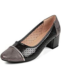 tresmode Womens Synthetic Leather Block Heel Pumps