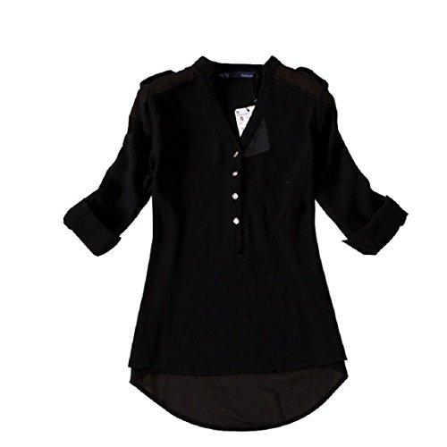 Mallom® Les femmes à encolure en V en mousseline de soie à manches longues Printemps Casual Shirt Blouse Noir