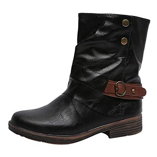 MYMYG Damen Schlüpfen Leather Stiefeletten Weinlese-Frauen Runde Spitze Leder Booties Zipper Stiefel quadratische Ferse Schuhe Boots Halbschaft Stiefel ()
