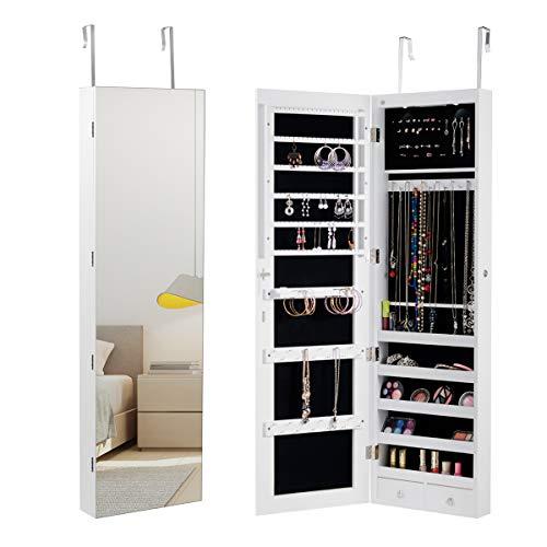 COSTWAY Schmuckschrank mit LED Beleuchtung, Schmuckregal hängend mit Spiegel, abschließbar mit Schlüsseln, 120 cm hoch (weiß)