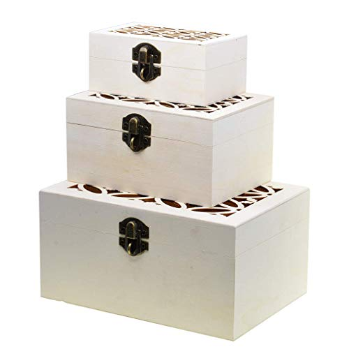 Tubayia 3 Stück Unfinished DIY Holz Schmuckschatulle Aufbewahrungsbox für Halskette, Armband, Ohrringe, Uhr usw - Handwerk Unfinished Box Holz