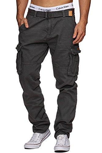 Indicode Herren William Cargohose aus Baumwolle m. 7 Taschen inkl. Gürtel | Lange Regular Fit Cargo Hose Baumwollhose Freizeithose Wanderhose Trekkinghose Outdoorhose für Männer in Raven XL