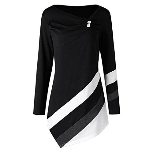 Xiantime Damen Herbst Winter Gestreift Asymmetrische Tunika Oberteile Übergröße Bluse T-Shirts...